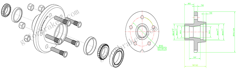 galvanized trailer wheel hub assembly kits drawings